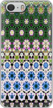 Capa Abstract ethnic floral stripe pattern white blue green