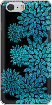 Capa aqua glitter flowers on black
