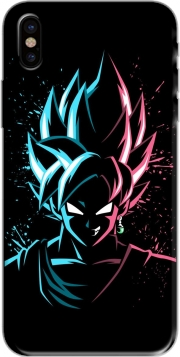 Capa Black Goku Face Art Blue and pink hair para iphone-8