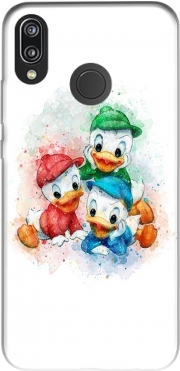 Capa Huey Dewey and Louie watercolor art para Huawei P20 Lite